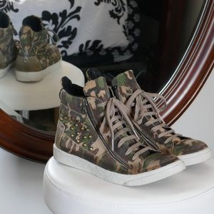Shoes - Studded Hightop Camo Sneakers (Size 9)